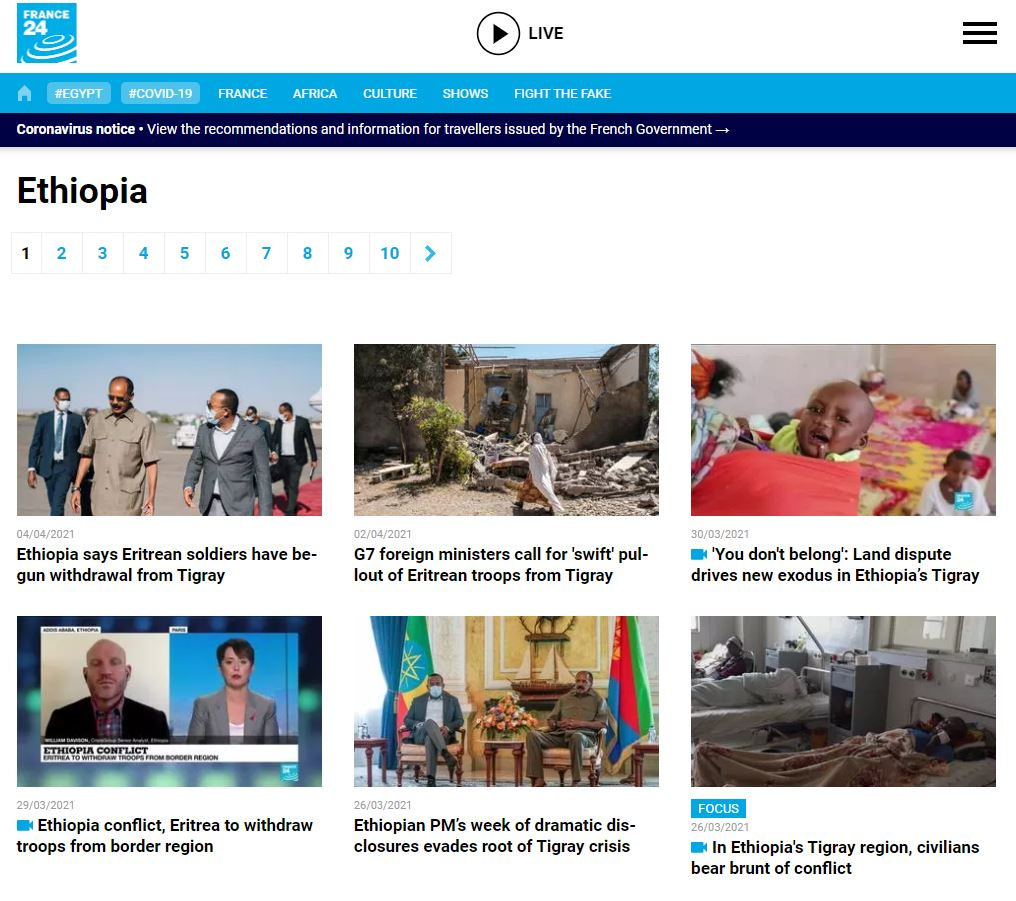 France 24 news in ethiopia today