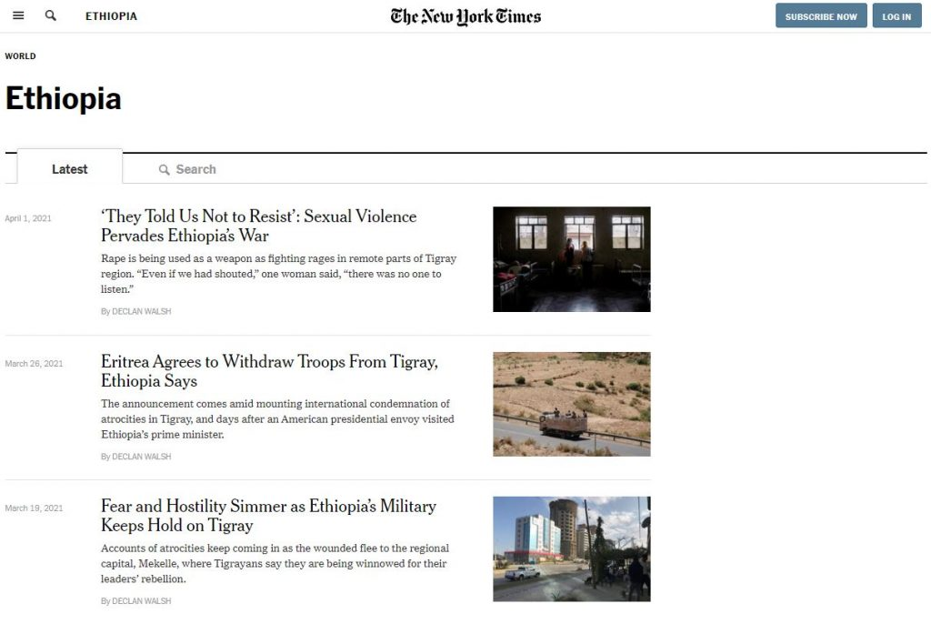 The New York Times Today News About Ethiopia
