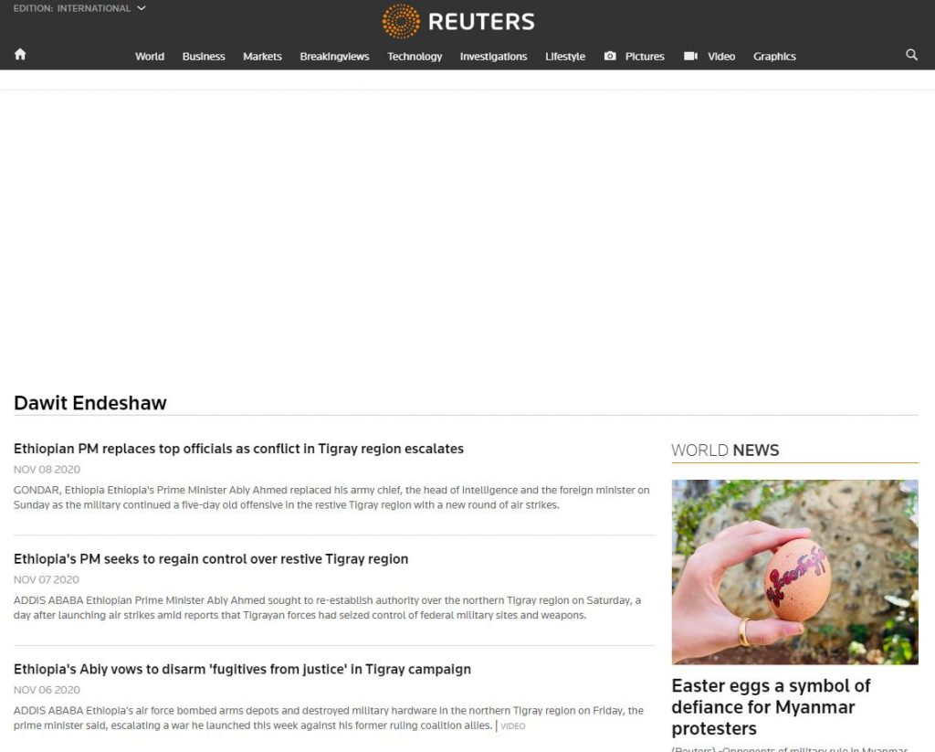 Reuters news about ethiopia today